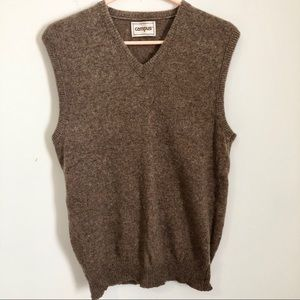 Vintage Campus Brown V Neck Knit Sweater Vest